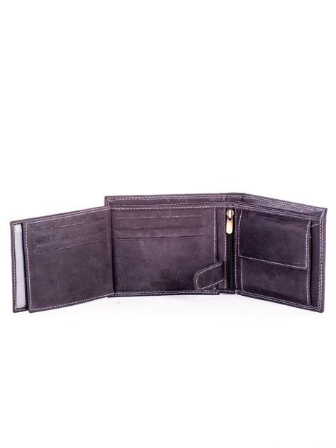 Czarny skórzany portfel dla mężczyzny z przeszyciami                              zdj.                              6
