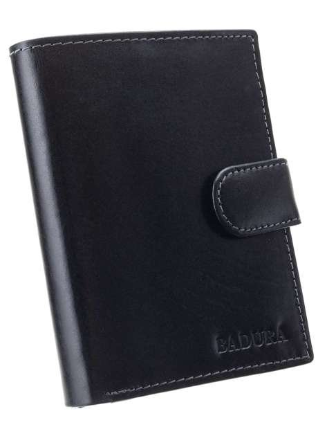 Czarny skórzany portfel męski BADURA