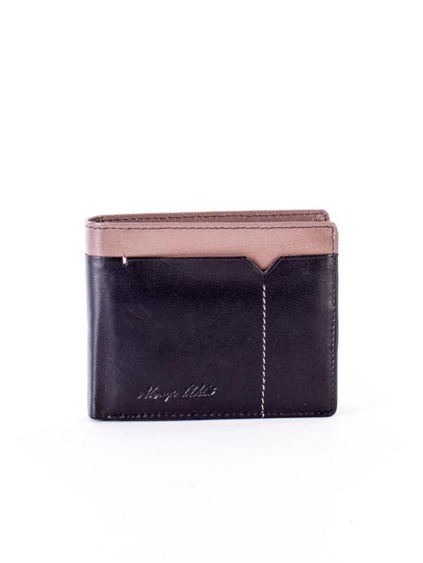 Czarny skórzany portfel męski z beżową wstawką                              zdj.                              1