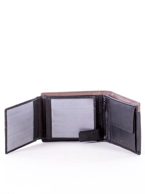 Czarny skórzany portfel męski z beżową wstawką                              zdj.                              4