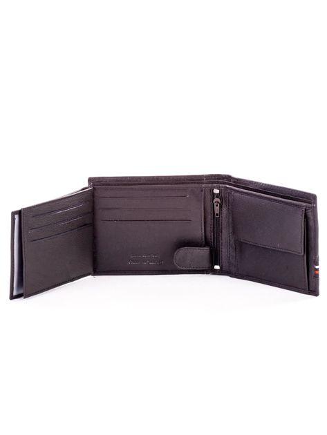Czarny skórzany portfel męski z materiałowym modułem                              zdj.                              6