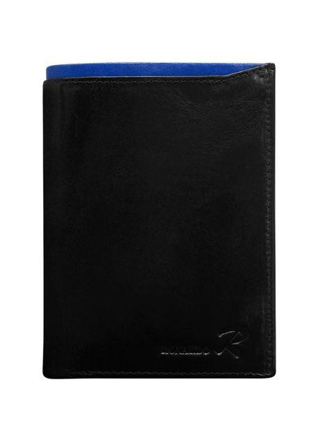 Czarny skórzany portfel męski z niebieskim modułem                              zdj.                              1