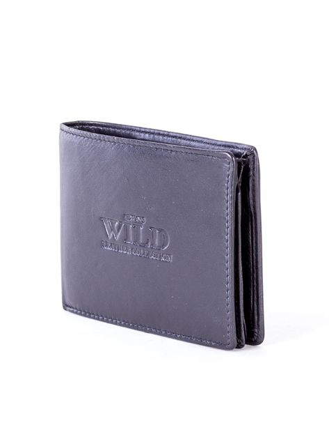 Czarny skórzany portfel męski z tłoczeniem                              zdj.                              3