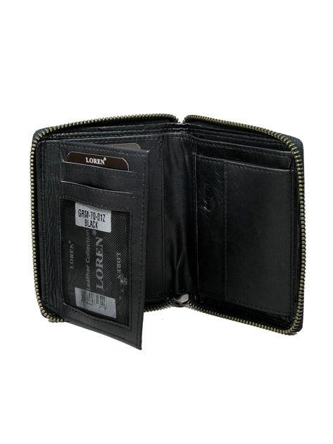 Czarny skórzany portfel męski zapinany na suwak                              zdj.                              2