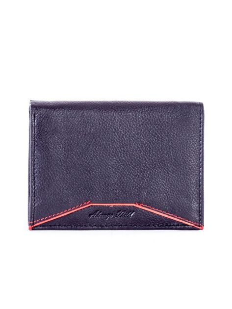 Czarny skórzany portfel z czerwonym wykończeniem                              zdj.                              1