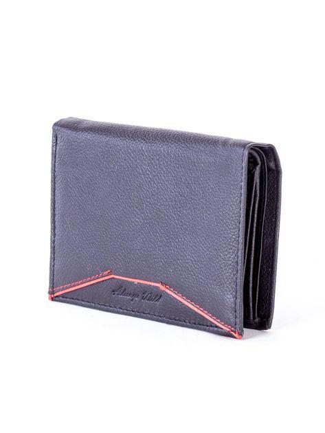 Czarny skórzany portfel z czerwonym wykończeniem                              zdj.                              3