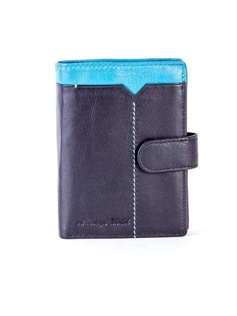 Czarny skórzany portfel z niebieską wstawką