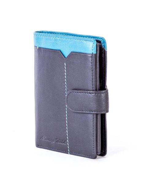 Czarny skórzany portfel z niebieską wstawką                              zdj.                              3