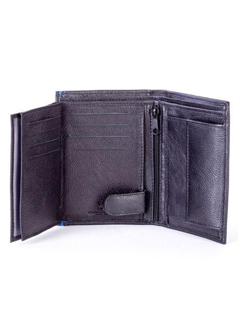 Czarny skórzany portfel z niebieskim wykończeniem                              zdj.                              6
