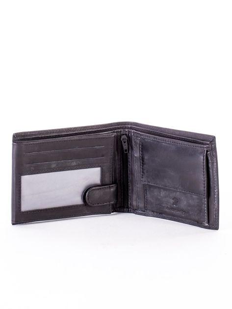Czarny skórzany portfel z okrągłym tłoczeniem                              zdj.                              4