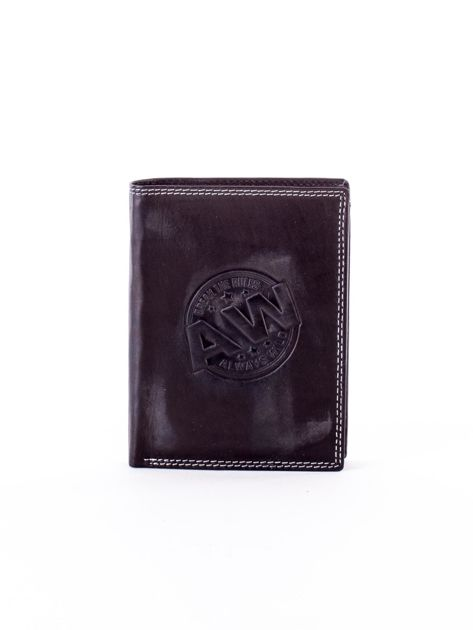 Czarny skórzany portfel z okrągłym tłoczonym emblematem                              zdj.                              1