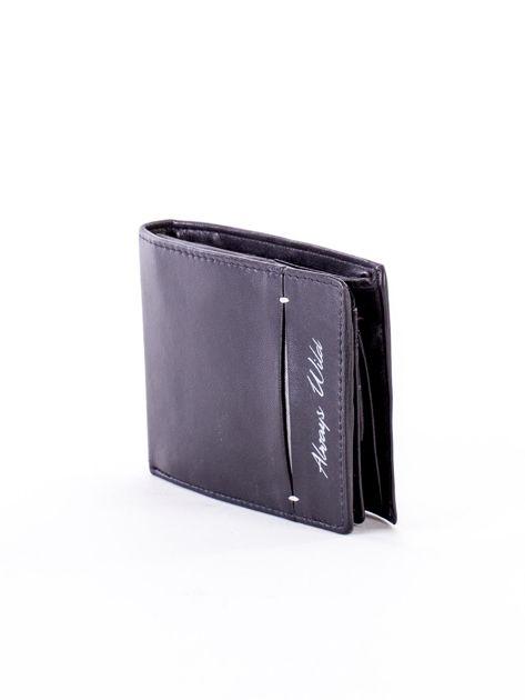 Czarny skórzany portfel z rozcięciem                              zdj.                              3