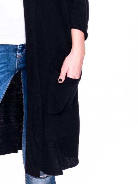 Czarny sweter długi kardigan z kieszeniami                                  zdj.                                  7
