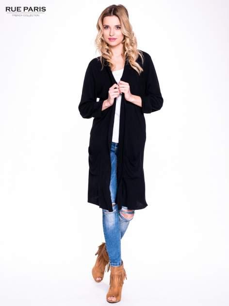 Czarny sweter długi kardigan z kieszeniami                                  zdj.                                  1