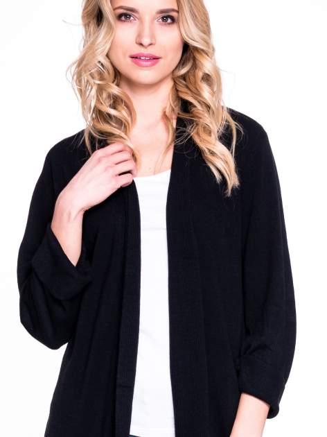 Czarny sweter długi kardigan z kieszeniami                                  zdj.                                  6