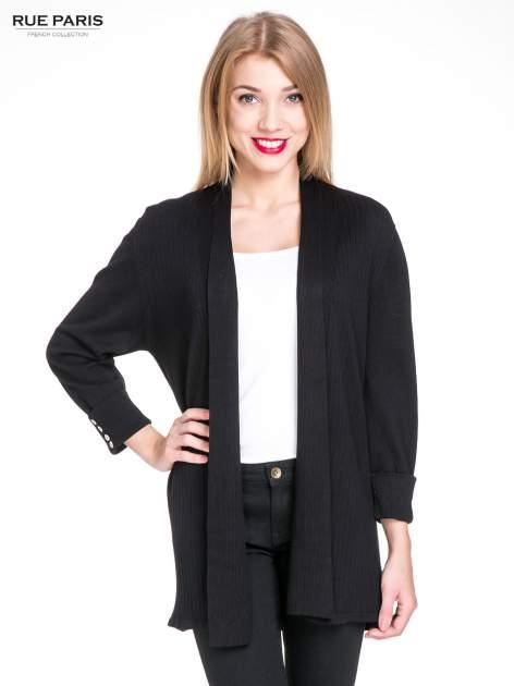 Czarny sweter kardigan z podwijanym rękawami z guziczkami                                  zdj.                                  1