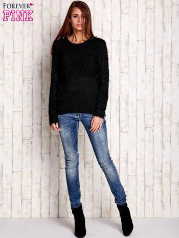 Czarny sweter long hair z kokardkami                                  zdj.                                  2