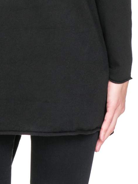 Czarny sweter narzutka waterfall ze skórzanymi klapami                                  zdj.                                  8