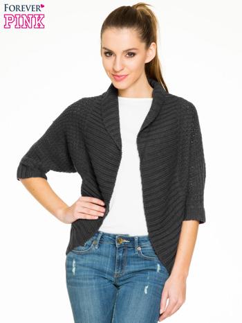 Czarny sweter narzutka z rękawem 3/4                                  zdj.                                  1