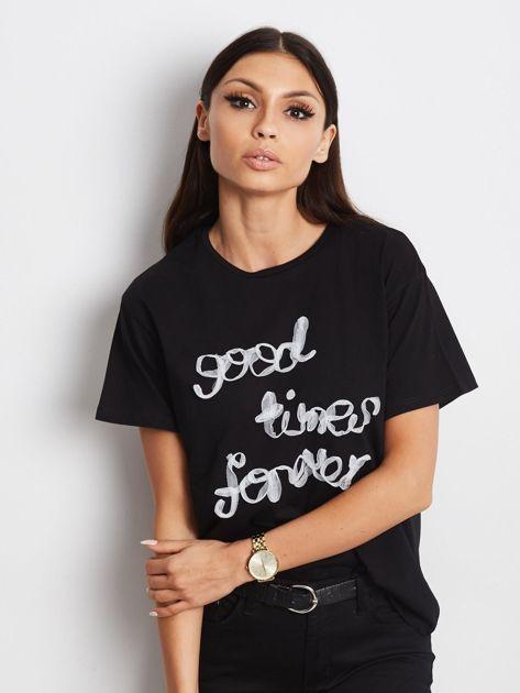 Czarny t-shirt Good Times Forever                              zdj.                              5