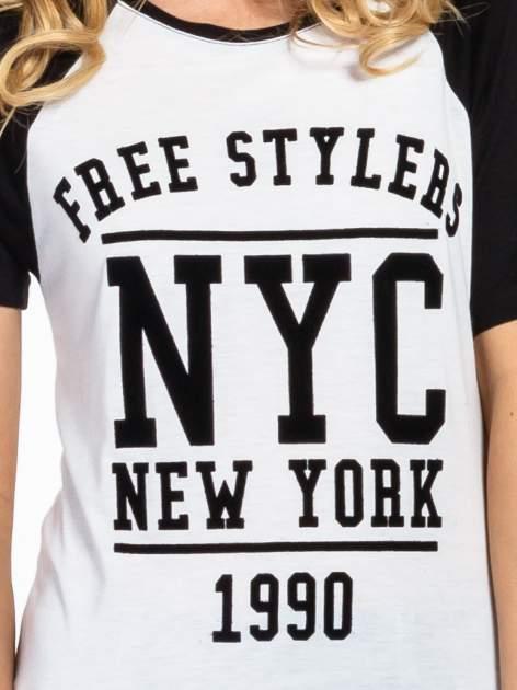 Czarny t-shirt NEW YORK 1990  w stylu collage                                  zdj.                                  5
