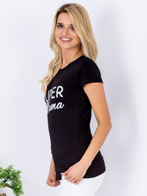 Czarny t-shirt SUPER MAMA                              zdj.                              5