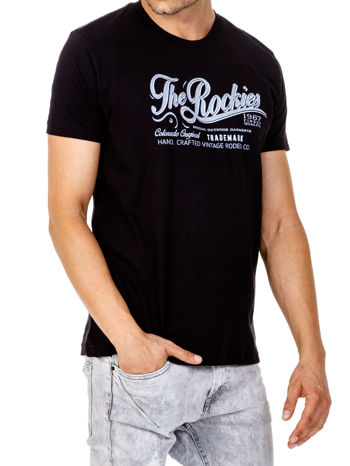 Czarny t-shirt męski z nadrukiem napisu THE ROCKIES                                  zdj.                                  4
