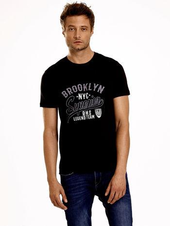 Czarny t-shirt męski z napisem BROOKLYN NYC