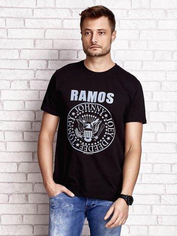 Czarny t-shirt męski z napisem RAMOS i nadrukiem                                  zdj.                                  1