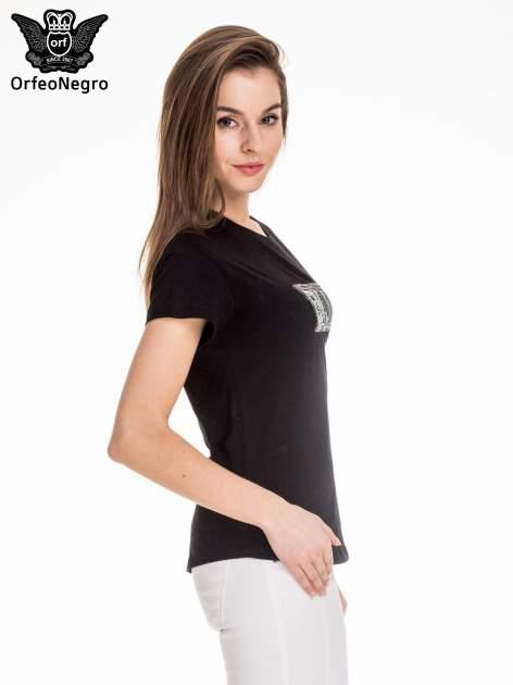 Czarny t-shirt z aplikacją ENJOY z cekinów                                  zdj.                                  3