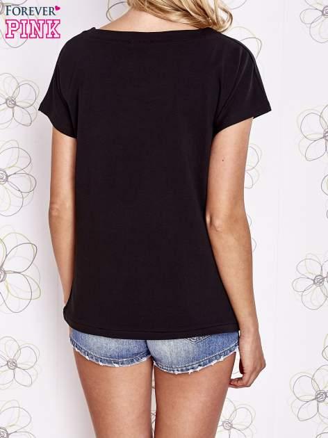 Czarny t-shirt z aplikacją owadów                                  zdj.                                  2