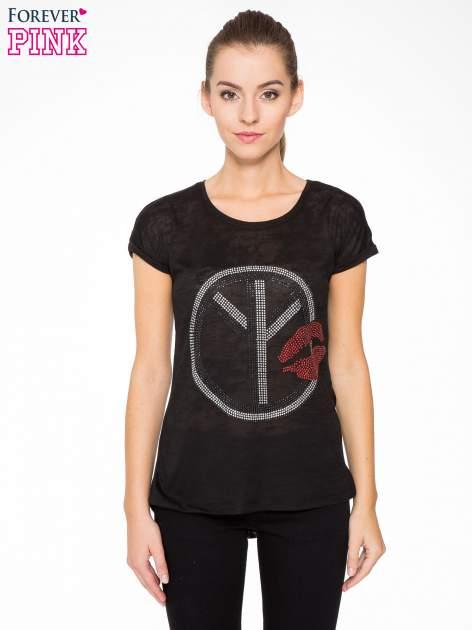 Czarny t-shirt z aplikacją z dżetów