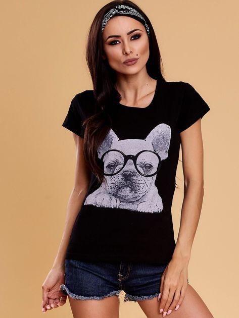 Czarny t-shirt z buldożkiem                              zdj.                              1