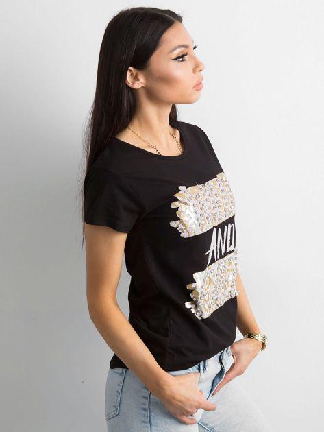 Czarny t-shirt z diamencikami                              zdj.                              3