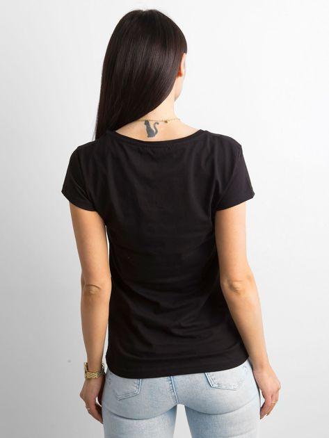 Czarny t-shirt z diamencikami                              zdj.                              2