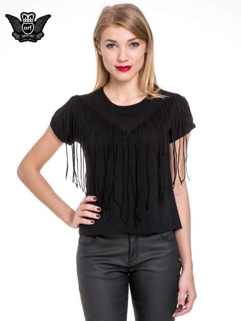 Czarny t-shirt z frędzlami z przodu                                  zdj.                                  1