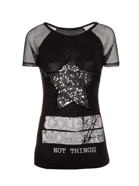 Czarny t-shirt z gwiazdą z cekinów