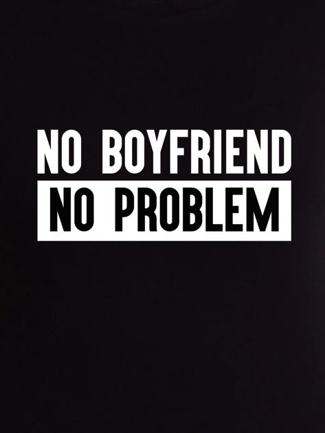 Czarny t-shirt z hasłem NO BOYFRIEND NO PROBLEM                              zdj.                              2