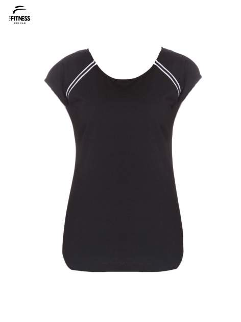 Czarny t-shirt z kontrastowym przeszyciem przy rękawach                                  zdj.                                  2