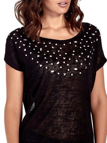 Czarny t-shirt z kryształkami                                  zdj.                                  5