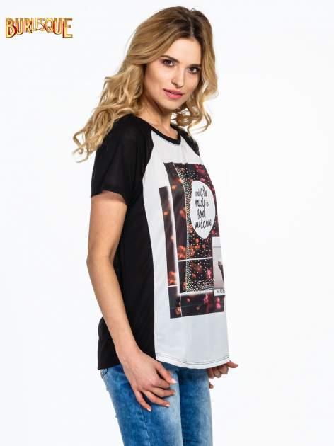 Czarny  t-shirt z motywem muzycznym                                  zdj.                                  3