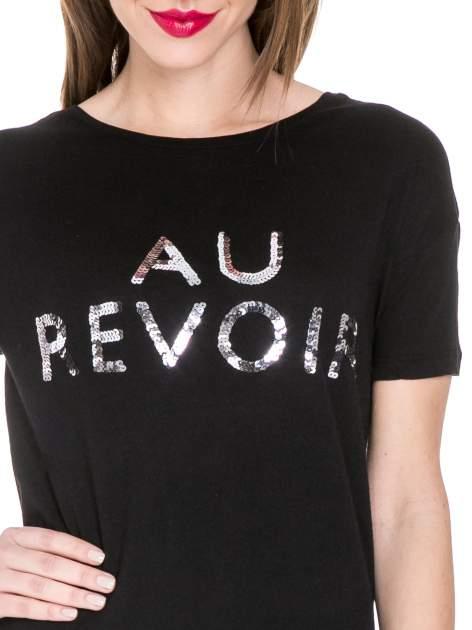 Czarny t-shirt z nadrukiem AU REVOIR z cekinów                                  zdj.                                  5