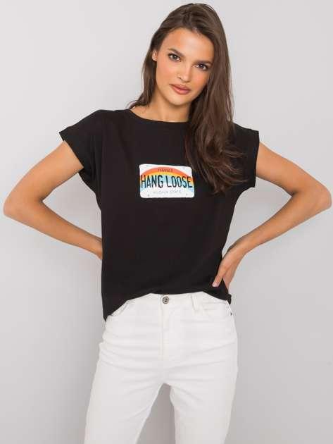 Czarny t-shirt z nadrukiem Aloha