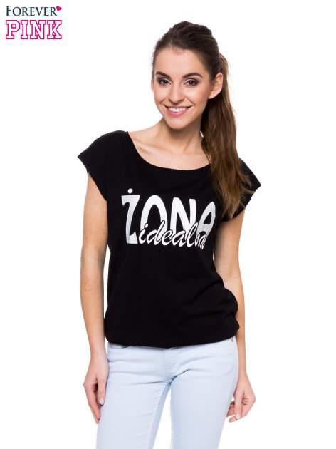 Czarny t-shirt z nadrukiem ŻONA IDEALNA