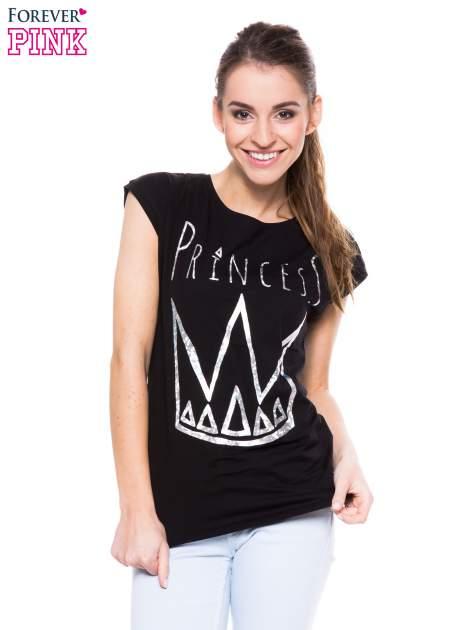 Czarny t-shirt z nadrukiem korony księżniczki