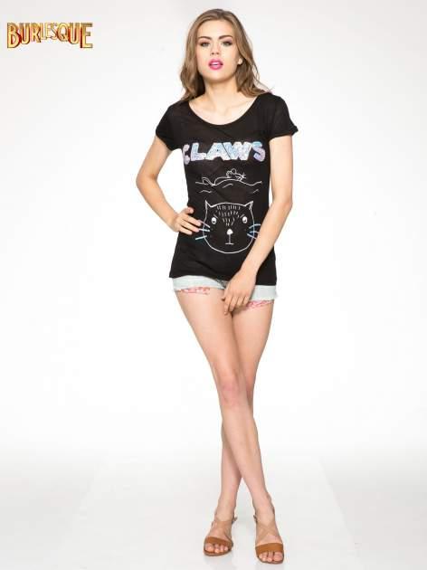 Czarny t-shirt z nadrukiem kota i myszy                                  zdj.                                  2