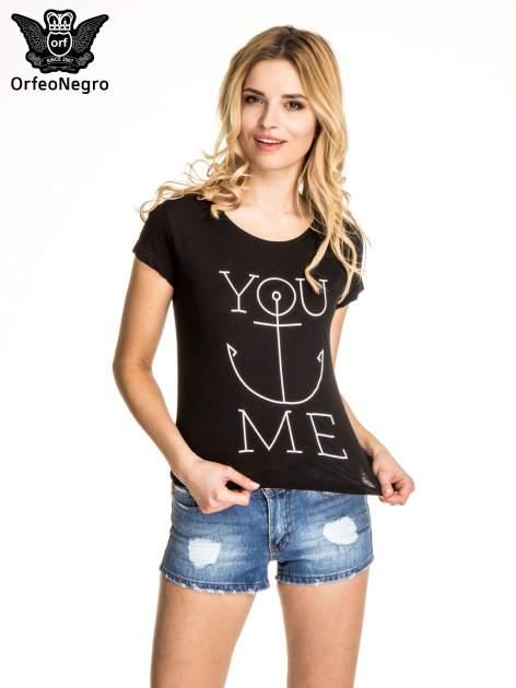 Czarny t-shirt z nadrukiem kotwicy