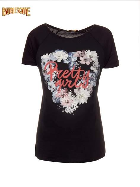 Czarny t-shirt z nadrukiem kwiatowym PRETTY GIRL                                  zdj.                                  1