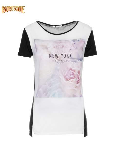 Czarny t-shirt z nadrukiem kwiatowym i napisem NEW YORK                                  zdj.                                  7