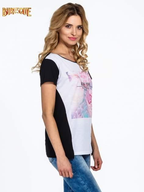 Czarny t-shirt z nadrukiem kwiatowym i napisem NEW YORK                                  zdj.                                  3